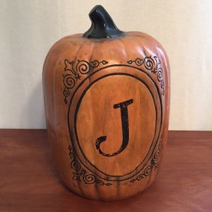 Halloween Ceramic Pumpkin with J Monogram Initial